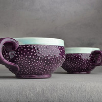 Dottie Mugs Pair of Royal Purple & Pastel by symmetricalpottery