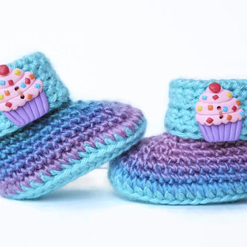 Crochet Baby Booties - Cupcake Mint and Multicolored Crochet Baby Shoes - Blue Purple Pink Baby Shoes - Baby Clothes