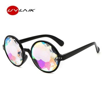 UVLAIK Crystal Psychedelic Kaleidoscope Sunglasses Catwalk Show Cosplay Sun Glasses Colorful Eyeglasses Celebrate Party