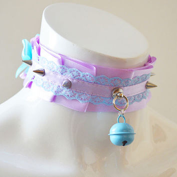 Kittenplay collar - Naughty kitty - ddlg kitten play spiked little princess pet choker - kawaii cute fairy kei harajuku pastel necklace