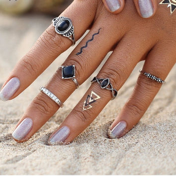 5PCS/Set Fashion Bohemian Turkish Midi Rings