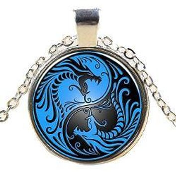 Black & Blue Yin Yang Dragon Pendant Necklace