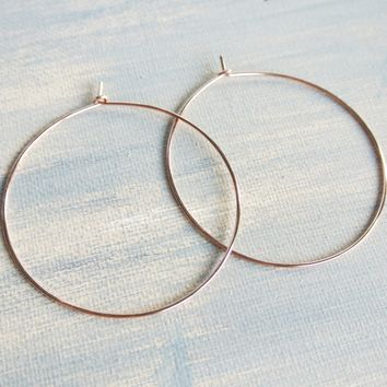 "Hammered Rose Gold Hoop Earrings - 14kt Gold Filled - 2 1/4"" Wide"