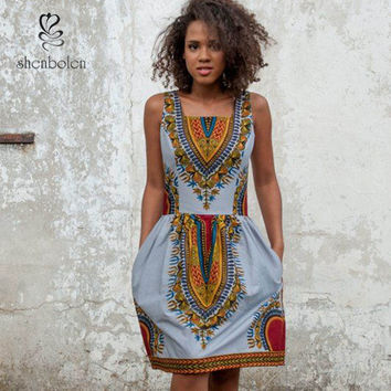 2016 summer hot selling african dashiki dress african clothing yellow African Print Dashiki Dress