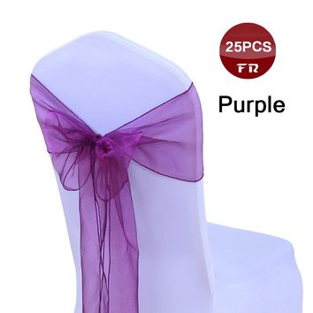 25PC Chair Sashes Wedding Organza Chair Sashes Bow Sheer Organza Fabric Chair Pew Bows for Banquet Ceremony Event Party Decor