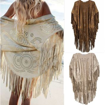 Womens Fringed Tassel Cape Batwing Poncho Boho Casual Cardigan Sweater Outwear
