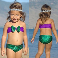 Charm Toddler Girls Kids Sequins Fancy Mermaid Swimwear Swimsuit Bikini set