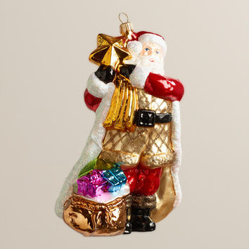 European Glass Star Santa Ornament - World Market