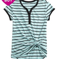 STRIPED HENLEY TEE | GIRLS TOPS CLOTHES | SHOP JUSTICE