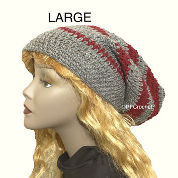 Large Slouchy Beanie | Gray and Burgundy Red | Free USA Shipping | Adults | Dreadlocks | Mens | Womens | Locs | Long Hair | Crochet Hat