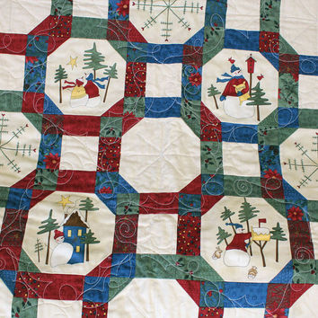 Snowmen and Snowflakes Throw Quilt - Dorm Quilt - Quilted Wall Hanging - Wedding or Housewarming - Cream, Red, Green & Blue Adorable Snowmen