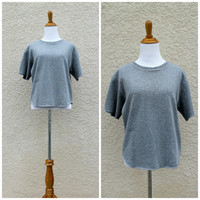 Vintage 80s Gray Crop T Shirt by The Body Co// Gray Crop Sweatshirt// Lounge Shirt// Casual Day Shirt// SOFT T Shirt // 80s Workout Excerise