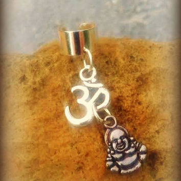 Buddha Om Ohm Ear Cuff,New Age Namaste Meditation Buddhism Yoga Hippie Zen Indie Style, Ready 2 Ship,Direct Checkout,