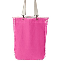 100% Genuine Pigment Ragged Edge Tote-Available in 3 Colors-Hot Pink