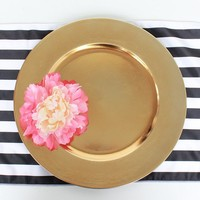 "Plastic Charger Plate in Metallic Gold - 13"" Wide"