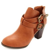 Cutout Double Buckle Ankle Bootie by Charlotte Russe - Chestnut