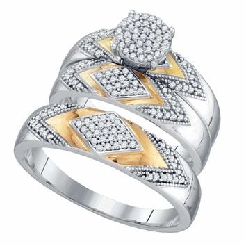 10k 2-tone Gold His & Hers Diamond Cluster Matching Wedding Ring Set - FREE Shipping (US/CA)