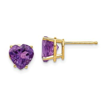 14k Gold 7 mm Heart Amethyst Earrings
