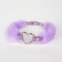 Fluffy Collar Choker in Pastel Purple