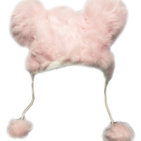 Mouse Ears Winter String Beanie Animal Faux Fur Cap Ski Hat Gray Pink Black