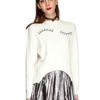 White Fuzzy Eyelash Sweater