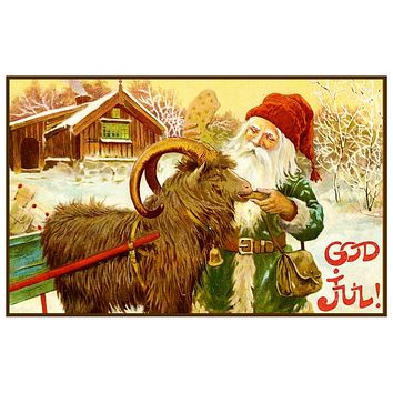 Elf Ram Sled God Jul by Jenny Nystrom Holiday Christmas Counted Cross Stitch Pattern