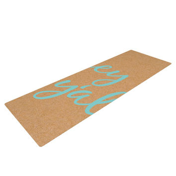 "KESS Original ""Hey Y'all"" Brown Blue Yoga Mat"