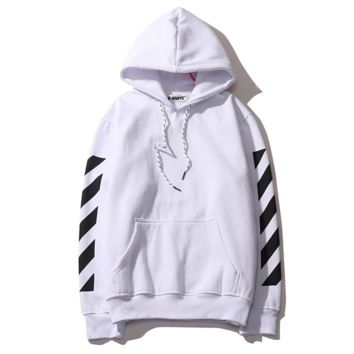 Autumn and winter new off white base paragraph oblique stripe letters cotton men and women hooded sweater coat tide White