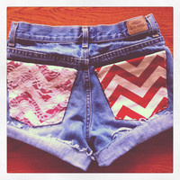 High waisted shorts, chevron and lace pockets