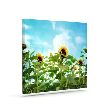 "Sylvia Cook ""Sunflower Field"" Blue Green Canvas Art"