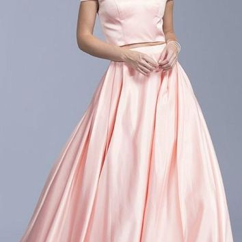 Blush Off-Shoulder Two-Piece Prom Gown