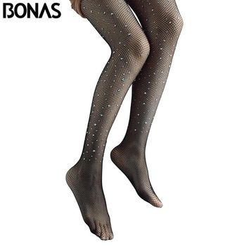 BONAS Black Bling Fishnet Tights Summer Women's Pantyhose Nylon Long Sexy Tights Seamless Hollow Diamond Slim Mesh pantyhose