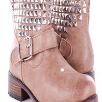 BROWN FAUX LEATHER STUDDED ANKLE LENGTH BOOTS