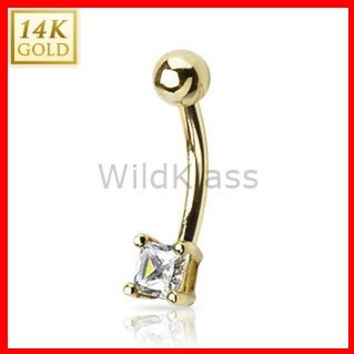 14k Solid Gold Ring 14g Belly Button Ring Princes Cut Square CZ Prong 14k Yellow Gold 14g Navel Ring Navel Jewelry Belly Button Jewelry