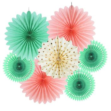 Pink and Mint Party Fans for Nursery, Baby Shower, Girl's Birthdays, Summertime Wedding Background-Party Decor Paper Fans | Princess Party