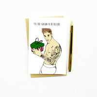 10% BLACK FRIDAY! Funny Christmas Card...Funny Holiday Card...Unique Christmas Card...Tis The Season To Beliebe