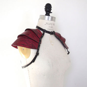 Rin Armored Leather Shoulder Harness, Samurai Inspired, Burning Man Gear, Leather Shoulder Pads, Leather Top, Leather Plate Armor, LARP