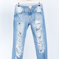 Destroyed Slim Straight Denim Jeans