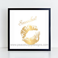 "Printable Art. ""Smooches"" Kissing Lips, gold foil print, instant download, digital printable, wall art, table top print"