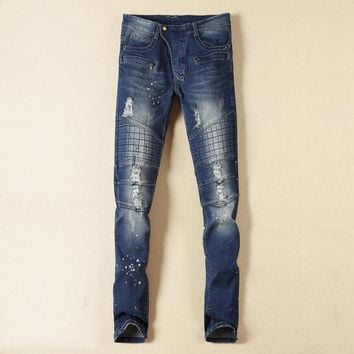 qiyif Runway Distressed Mens Denim Biker Blue Jeans