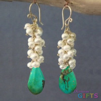 """Clusters of ivory pearls and sleeping beauty turquoise, 1-1/2"""" Earring Gold Or Silver"""