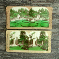 Color Antique Stereoview Cards, Keystone View Company Stereoscope Cards, Park Scene, Mexico, 3D Photo Cards Images, Stereo View Cards