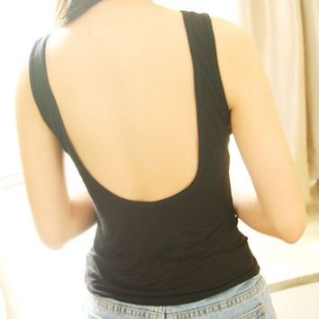 Open Back Pure Color Bodycon Vest Tank