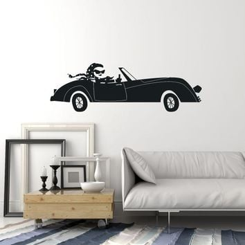 Vinyl Wall Decal Retro Vintage Car Beautiful Woman Room Decor Stickers Mural (ig5373)