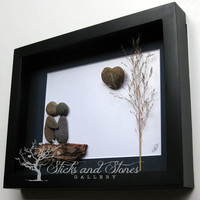 Unique Engagement Gift- Personalized COUPLE'S Gift- SticksnStone Designs- Love Gift -  Pebble Art - Canadian Artwork