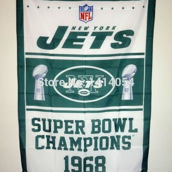 New York Jets Super Bowl Champions   Flag 150X90CM Banner 100D Polyester3x5 FT flag brass grommets 001, free shipping