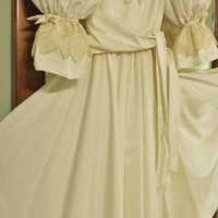 Ivory Tea Length Dress Inspired By Princess Diana's Wedding Dress, Puffy Sleeves, Puff Sleeves, Lace, Ruffles