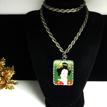 Asian Picture Frame Pendant Necklace - Reversible Hand Painted Woman Portrait - Double Sided on Chain