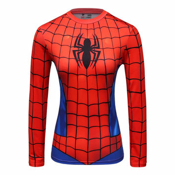 Compression Shirt Spiderman 3D Printed T Shirt Women Raglan Long Sleeve Captain America Cosplay Costume Quick Dry Tops Female