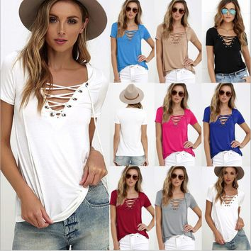 2017 Summer European  Lace Up T Shirt Women V Neck Hollow Out Top Casual Basic Female T-shirt Plus Size